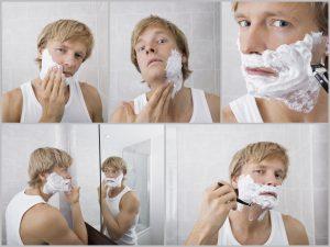 Bei der Rasur sollte man sorgsam und langsam vorgehen und die Klinge immer von abrasierten Haaren befreien.